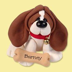 Basset Hound  / Dog / Puppy / Polymer Clay Personalized Christmas Ornament. $9.95, via Etsy.