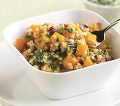 Israeli Couscous Risotto with Squash, Radicchio, and Parsley Butter from Epicurious.com #myplate #vegetables