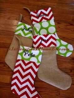 Set of 4 -Burlap Christmas Stockings - Trendy - Chevron Dot - Personalized