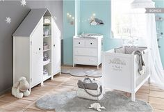 Babies- Babys Baby cot made of wood, L 126 cm, white Songe Songe Baby Boy Nursery Room Ideas, Baby Boy Rooms, Baby Bedroom, Baby Room Decor, Baby Cribs, Kids Bedroom, Unisex Nursery Colors, Baby Room Furniture, Home Furniture