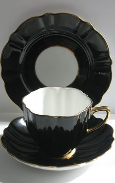 1950s Vintage Rare Black Teacup Saucer & Side Plate by ThisDayYesterday