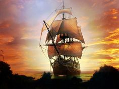 Tall ship at sunset. - Found on mynewlifeinsavannah.blogspot.comFound on mynewlifeinsavannah.blogspot.com