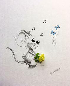 FANTASÍA Cartoon Pics, Cartoon Drawings, Cartoon Art, Cute Drawings, Pencil Drawings, Mouse Crafts, Object Drawing, Little Doodles, Comic Drawing