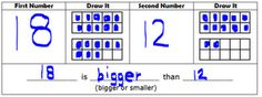 using 10-frames to compare numbers to 20