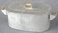 Vintage Dollhouse Metal Boiler Tub with Lid