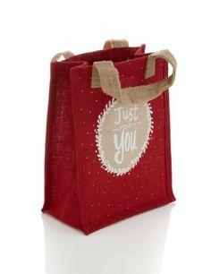 Red Hessian Reusable Medium Christmas Gift Bag - Marks Spencer My First Christmas,