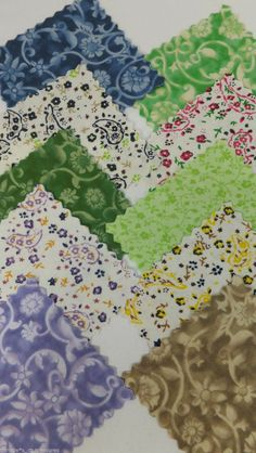 "100 SQUARES 4""  PAISLEY FLOWERS Cotton Quilting Fabric Squares Patchwork Blocks"