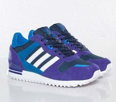 Trendy Womens Sneakers 2017/ 2018 : adidas Originals ZX 700 W  Black Purple / Running White  Bluebird