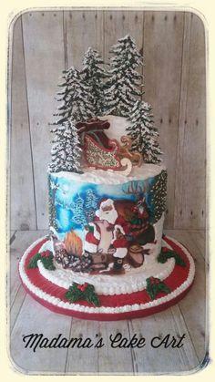 Christmas Spirit - Cake by Madama's Cake Art Christmas Themed Cake, Christmas Cake Designs, Christmas Cake Decorations, Holiday Cakes, Christmas Desserts, Christmas Treats, Winter Christmas, Christmas Cookies, Xmas Cakes