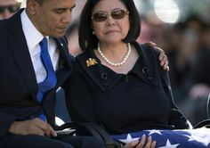 President Barak Obama Comforting Widow Irene Mirano Inouye.... Senator Inouye....