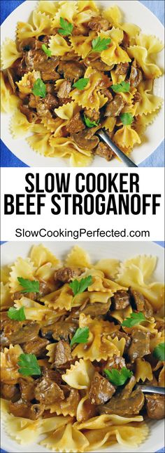 A delicious beef stroganoff that you can cook in the slow cooker! The end result is a rich amazing sauce with juicy mushrooms and tender pieces of beer.