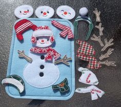 Snowman Busy Page Bag Build Decorate ADD-ON to Busy Book 4 faces 8 arms 6 hats 5 scarves colors pattern placement may vary Quiet Felt Board