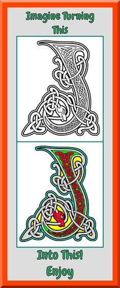 Printable Art Therapy Celtic A-Z Coloring Pages Clear sharp outlines, full color examples. Many other coloring books $4.99 at https://coloringbookspages.etsy.com