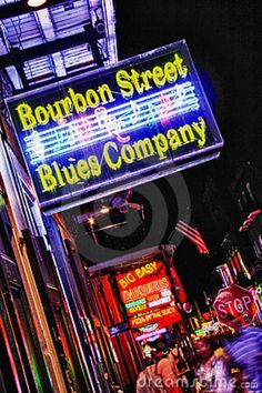 New Orleans Bourbon Street Blues Company. The bright blue and yellow neon of thi , Love Neon Sign, Neon Signs, Bourbon Street Blues, New Orleans Bourbon Street, Blue Company, Music Signs, New Orleans Travel, New Orleans Louisiana, Crescent City