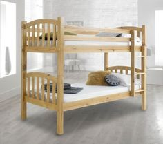 Voted number one in 'best bunk beds' by The Independent, the American Solid Honey Pine Bunk Bed presents a traditional structural design with characterful and stylish touches. Perfect for any home interior, the American Bunk Bed showcases gorgeously au Pine Bunk Beds, Wooden Bunk Beds, Cool Bunk Beds, Kid Beds, Bed Format, Kids Bed Frames, Bedroom Color Schemes, Mattress Springs, Under Bed Storage