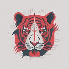 East End Prints - Tiger Tiger Framed Print - Black Frame - Red Tiger Art, Tiger Tiger, Black Tigers, Framed Prints, Art Prints, Printer, Moose Art, Creations, Black And White