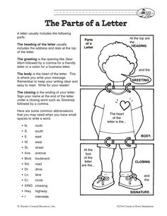 FREE Parts of a Friendly Letter~ Draw and label your own display to help students connect their own body parts with the parts of a friendly letter.  This how-to comes from Thriving Third Graders.  You'll find this download, as well as other free printables including letter-writing lesson plans and letter-writing worksheets.  Great resource for teaching this important CCSS skill!