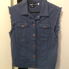 Dark Blue Denim BDG vest Never worn. Grungy looking blue BDG vest. Cute over a girly dress for a more laid back effect. Urban Outfitters Jackets & Coats Vests