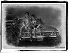 Fan portrait of young Dean and Sam Winchester sitting on the Impala.