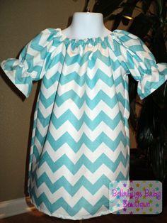 Aqua Chevron Peasant Dress with 3/4 sleeve - Sizes 18M - 12Y. $28.99, via Etsy.