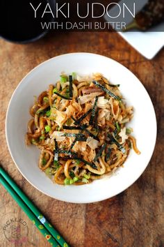 Yaki Udon Recipe ready in 10 minutes. Stir fried Udon noodles with butter and dashi powder served with bonito flakes and fresh scallions. Make it today!
