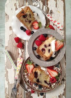 MIXED BERRY CAKE  2 cups of flour, divide use  1/4 cup of salted almonds  1 teaspoon baking powder  1/4 teaspoon salt  1/2 cup butter  1 3/4 cup sugar  3 eggs  1/3 cup unsweetened coconut shreds  1/2 cup milk  1.5 oz raspberries  1.5 oz blackberries  1.5 oz blueberries