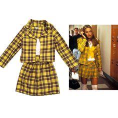 5dcc82c76a SALE Cher's Clueless Outfit Yellow Tartan Plaid Fancy Dress Adult Costume  skate skirt woman costume halloween