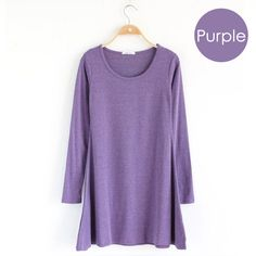 Cute & Comfy~ Purple long-sleeve jersey knit dress.  Soft cotton knit casual easy-to-wear mini dress,