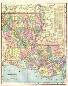 S Fun LOUISIANA Map MISSISSIPPI Map Of By OnTheWallPrints - Us map of louisiana