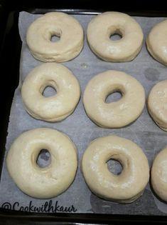 Eggless Donut Recipe, Easy Donut Recipe, Baked Donut Recipes, Eggless Desserts, Eggless Recipes, Baked Doughnuts, Eggless Baking, Easy Bread Recipes, Cooking Recipes