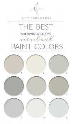 The Best Sherwin-Williams Neutral Paint Colors Agreeable Gray Alabaster Aloof Gray Ellie Gray Repose Gray Mindful Gray Passive Pure White Quick Silver Bedroom Paint Colors, Paint Colors For Home, Fixer Upper Paint Colors, Best Neutral Paint Colors, Neutral Living Room Paint, Best Bathroom Paint Colors, Best Greige Paint Color, Magnolia Paint Colors, Neutral Bathroom Colors