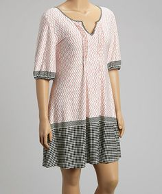 Another great find on #zulily! Pink Swirl Notch Neck Shift Dress - Plus #zulilyfinds