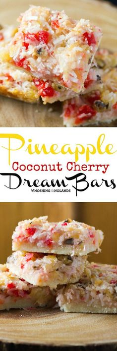 Pineapple Coconut Cherry Dream Bars by Noshing With The Nolands. Pineapple Coconut Cherry Dream Bars by Noshing With The Nolands are effortless to make giving you a delightful taste of the tropics! Dessert Bars, Oreo Dessert, Cake Bars, Köstliche Desserts, Delicious Desserts, Dessert Recipes, Yummy Food, Bar Recipes, Plated Desserts