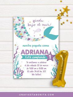 Invitación para imprimir sirenita baby primer añito #invitaciones #sirena #primerañito #cumpleaños #ideasfiesta #mermaidparty #imprimibles