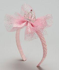 Another great find on #zulily! Pink Glittering Tiara & Bow Headband #zulilyfinds