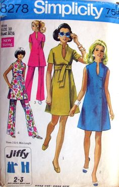Simplicity 8278  Copyright 1969    Misses Jiffy dress or tunic and pants. The dress V.1 & 2 and tunic V.3 & 4 with raised shaped neckline and