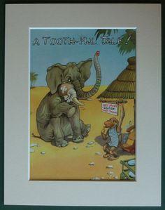 1950s Vintage Dentistry Print of an Elephant by PrimrosePrints