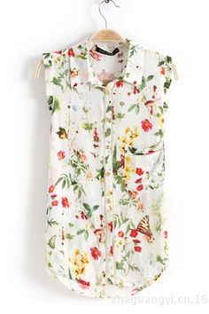 White Floral Print Sleeveless Chiffon Blouse from ZLZ Online Wardrobe