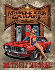 Vintage Garage Signs | Country and primitive wall decor: Muscle Car Garage Vintage Tin Sign