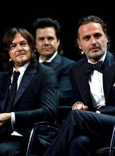 Norman Reedus and Andrew Lincoln onstage during the AMC's 'The Walking Dead' season 6 fan premiere event at Madison Square Garden on October 9, 2015.