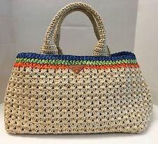 PRADA Raffia Gardeners Straw Tote Bag w/ Multicolor Strips