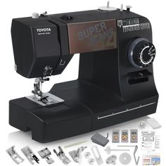 TOYOTA Super Jeans J34 Sewing Machine (Glides Over 12 Layers of Denim) w/ Gliding Foot, Blind Hem Foot, and More!