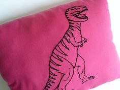 Perfect dinosaur pillow for a girls room. #pinparty #dinosaur #nursery