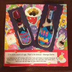 60th Birthday Wine Bottle favors; Page 2: This is a 8 by 8 scrapbook page featuring a picture of wine bottles with covers made with the Cricut Celebrations cartridge.