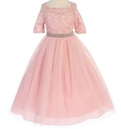 Laurel - Scalloped Lace Long Sleeve Formal DressThis is an elegant blush pink formal dress perfect for a natural pageant, wedding party , or special occasion. THis dress come in toddlers sizes up to plus size 20.