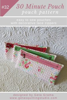 Simple pouch pattern - learn to sew the easiest and fastest zippered pouch; it takes less than 30 minutes and it is quilted.