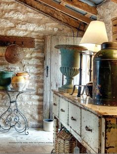 charming stone cottage with rustic door - love the tole tea caddy