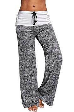 8d4ca112c5 Sheng XiWomen Women's Color Block Wide Leg Palazzo Yoga Pants Middle Waist  Loose Long Pants Plus Size