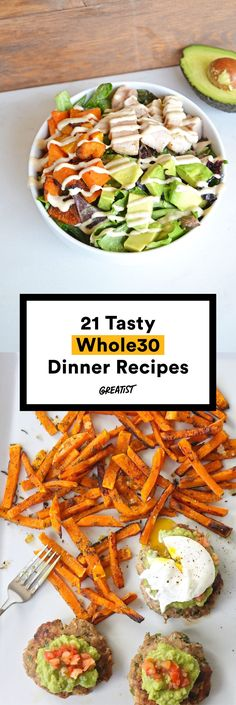 21 easy and delicious whole 30 dinner recipes Whole30 Dinner Recipes, Real Food Recipes, Vegetarian Recipes, Cooking Recipes, Healthy Recipes, Delicious Recipes, Paleo Dinner, Dinner Healthy, Simple Recipes