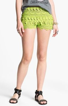 Nail the boho trend with crochet Try crochet shorts in cool chartreuse - it's a great color for summer!